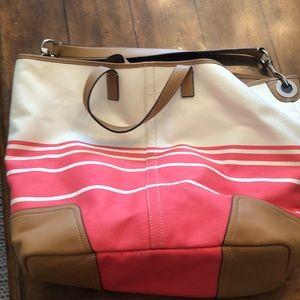 Coach pink and white beach bag/ tote